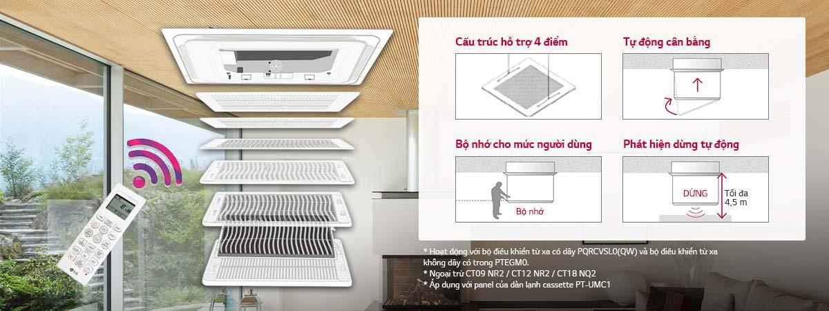 Máy lạnh âm trần LG ATNQ24GPLE6 2.5 HP - Lưới nâng lên tự động
