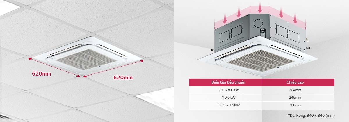 Máy lạnh âm trần LG ATNQ48LMLE6 5 HP - Thiết kế và kích thước nhỏ gọn