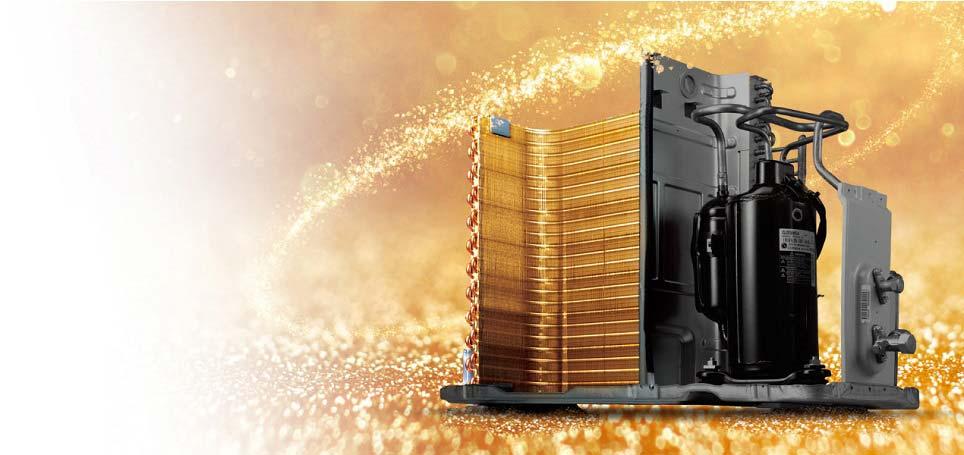 Dàn tản nhiệt mạ vàng - Máy lạnh treo tường LG V10ENW 1HP