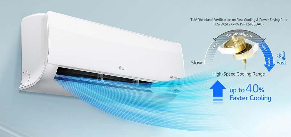 Làm lạnh nhanh - Máy lạnh treo tường LG V10ENW 1HP
