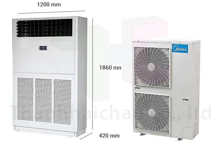 thiết kế máy lạnh tủ đứng midea MFA-96CRDN1 10 HP