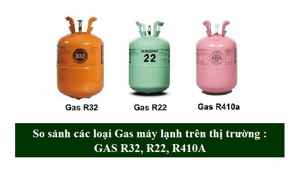 So sánh sự khác nhau các loại gas máy lạnh R32, R22 và R410A
